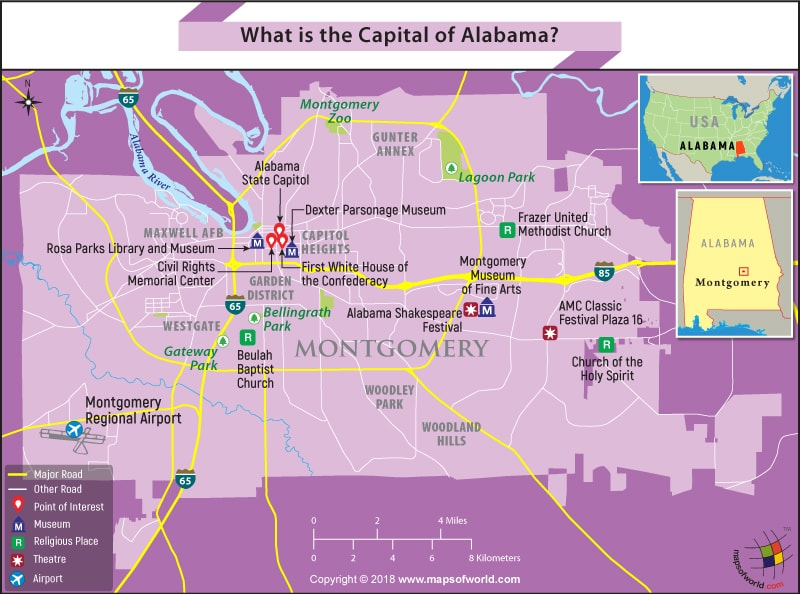 Map of Montgomery city, the capital of Alabama - Answers