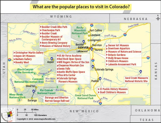 Map of Colorado showing popular places to visit in the state