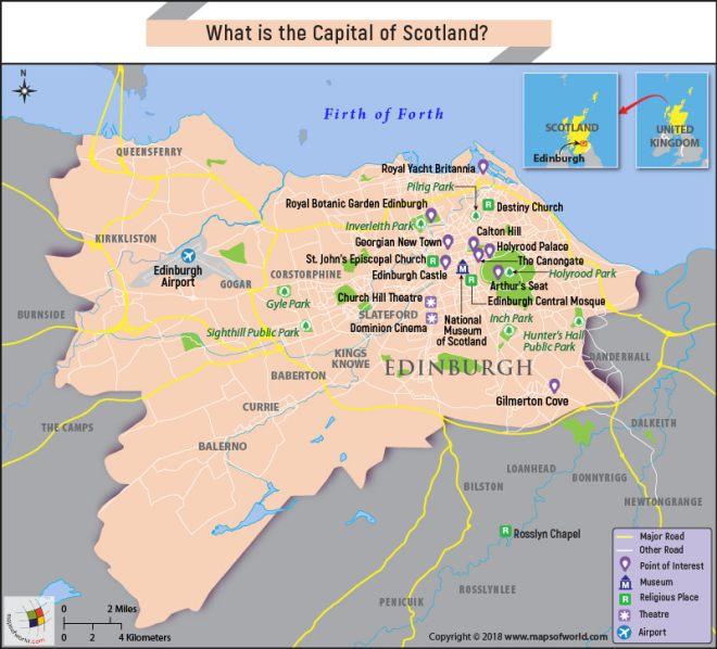 Map of Edinburgh, the capital city of Scotland