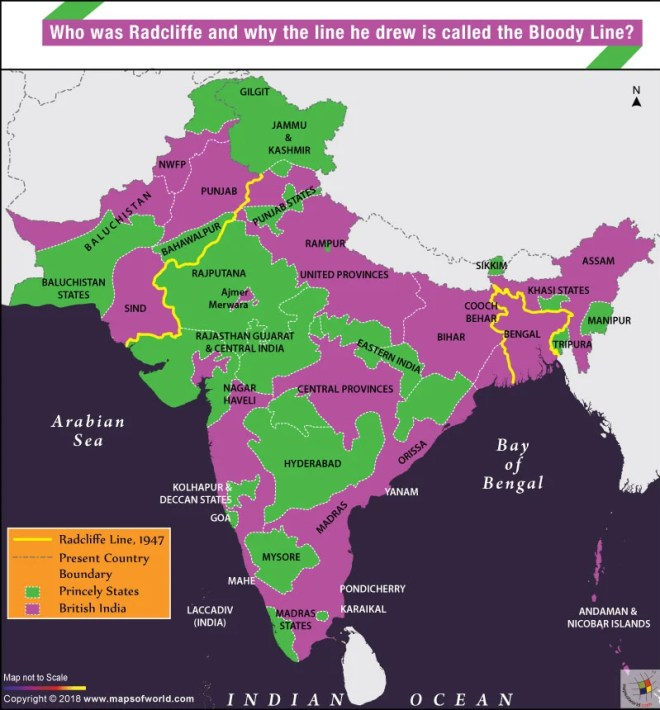 Map showing Radcliffe line separating Pakistan and Bangladesh from India