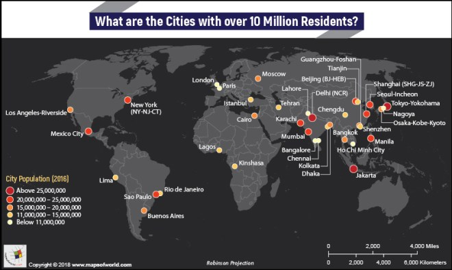 World Map highlighting Cities having more than 10 million population