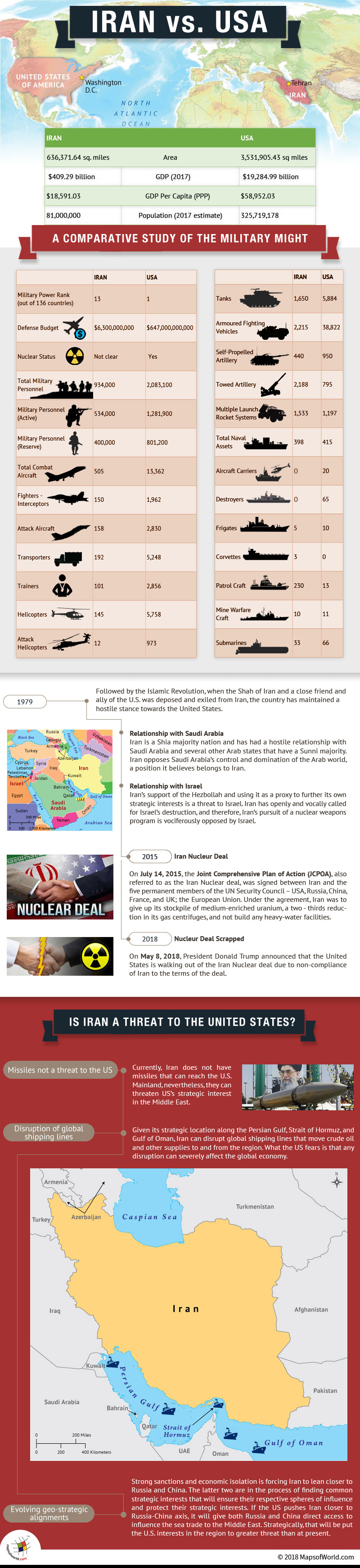 Infographic and Maps on USA and Iran