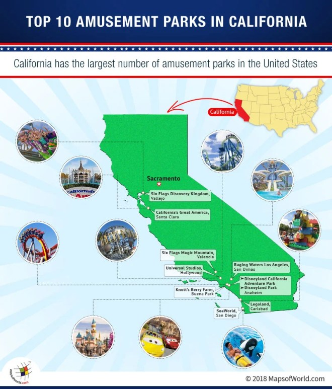 Map of Top 10 Amusement Parks in California