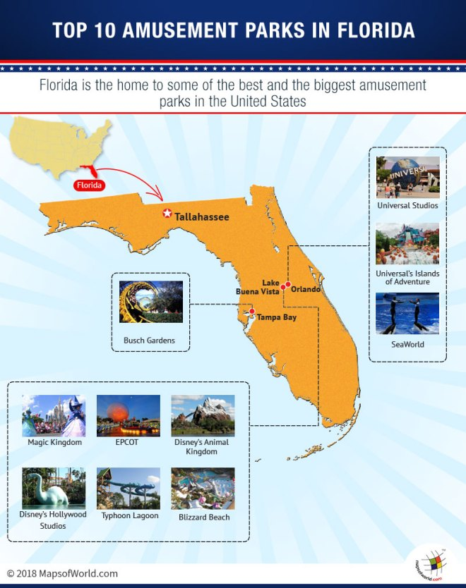 Map of Top 10 Amusement Parks in Florida