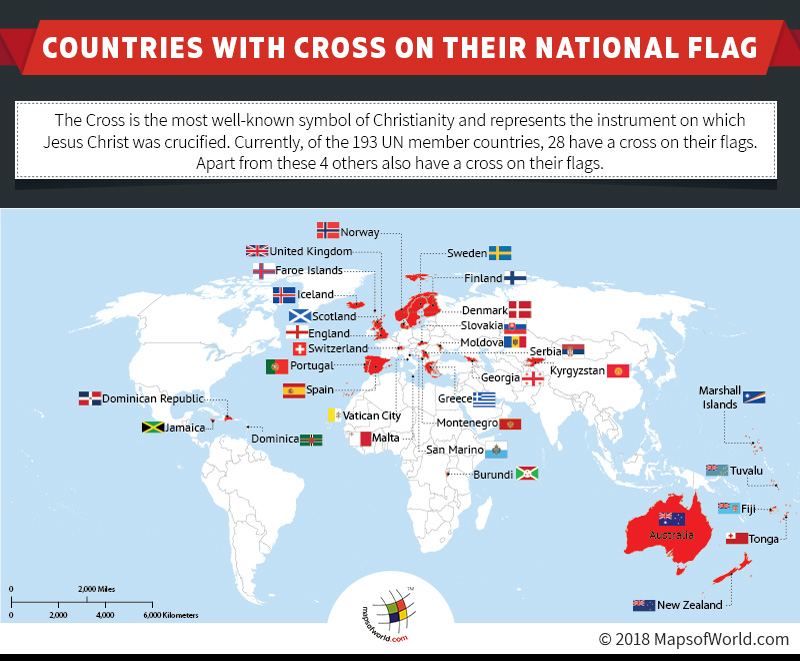 World Map showing countries having Cross in the Flag