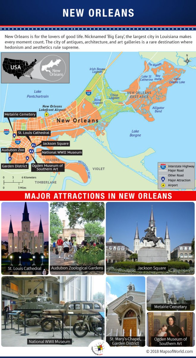 Infographic Depicting New Orleans Tourist Attractions