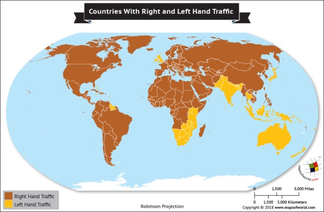 World map indicating countries with right and left-hand drive