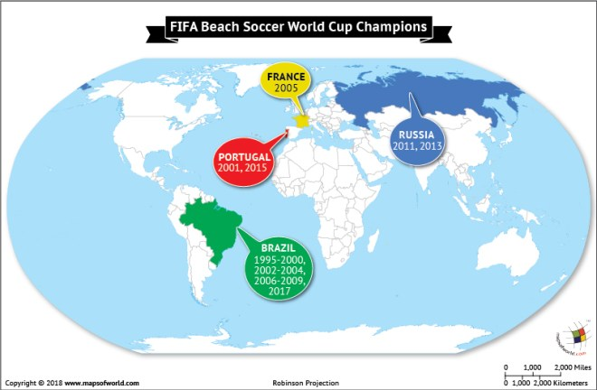World map depicting FIFA Beach Soccer world championship