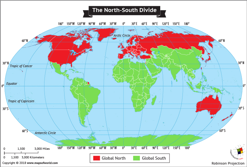 World Map showing Global North and South Division
