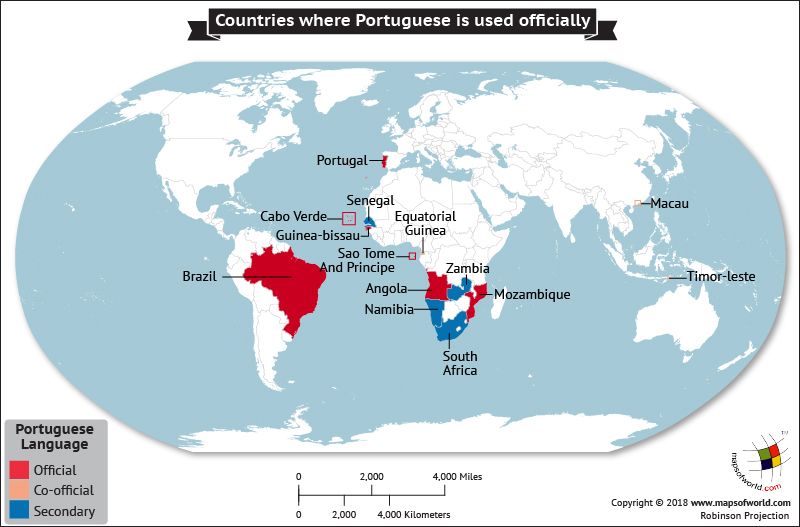 World map showing countries where Portuguese is the official language
