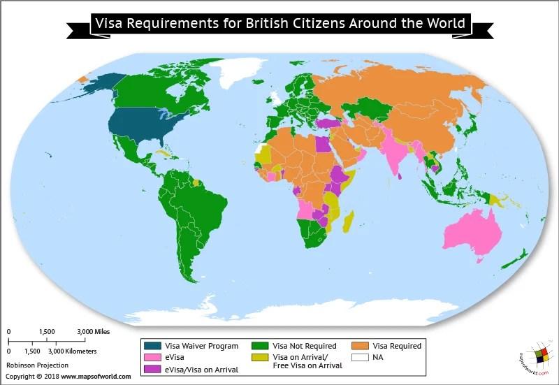 World Map depicting British Visa Requirements around the world