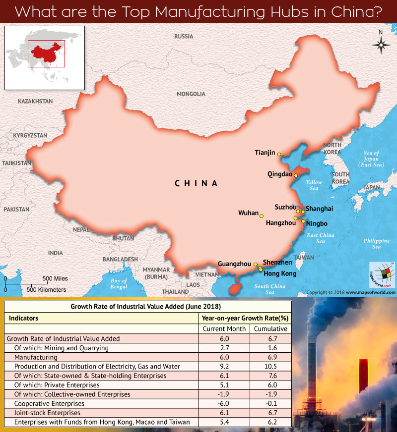 Map of China depicts top manufacturing cities