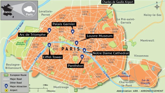 Map Depicting Paris Tourist Attractions