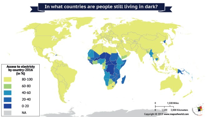 World Map depicts access to electricity by the people.