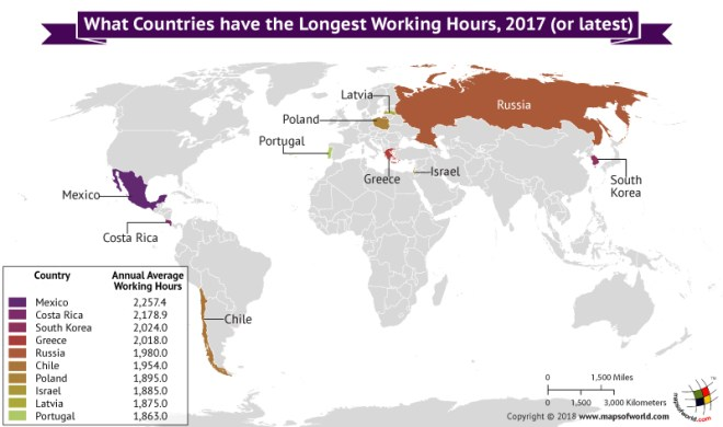 World Map depicting countries with longest working hours