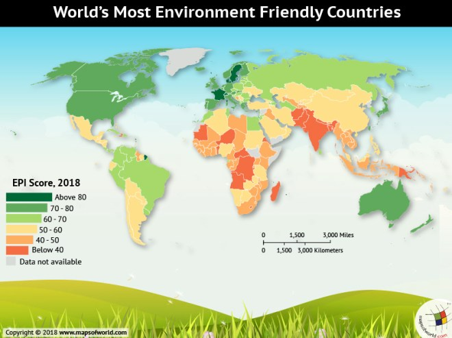 World map depicting Environment-Friendly Countries