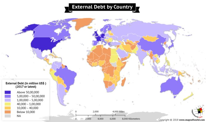 World map highlighting External Debt Stock by country