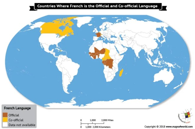 World Map depicting countries where French is official language