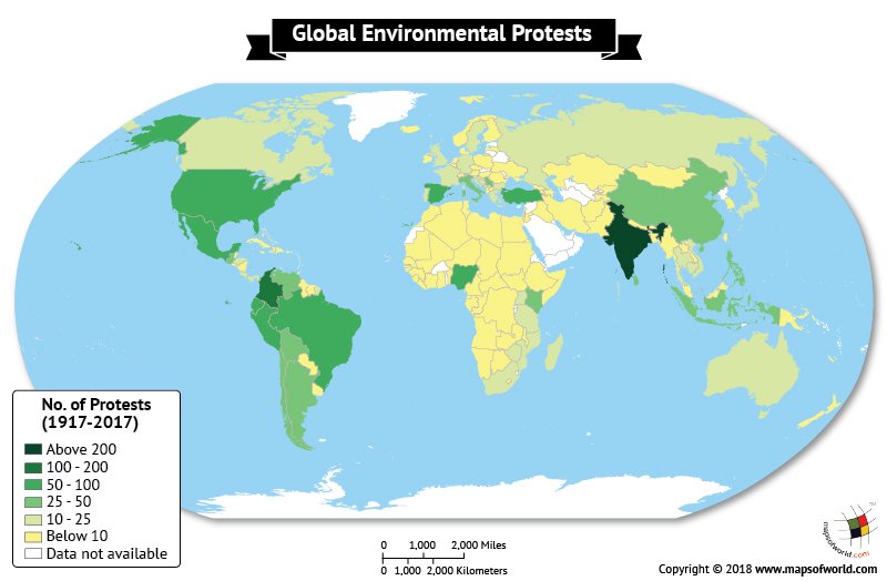 World map depicting Global Environmental Protests