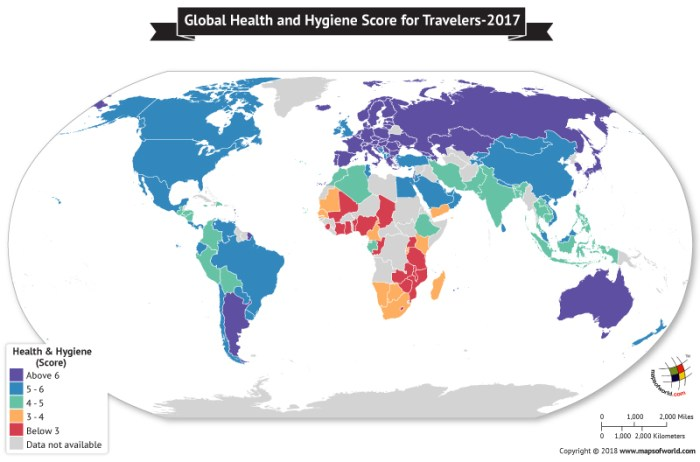 World map highlighting health factor while traveling