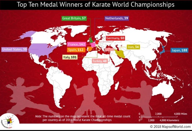 World map depicting top 10 winners of Karate Championships