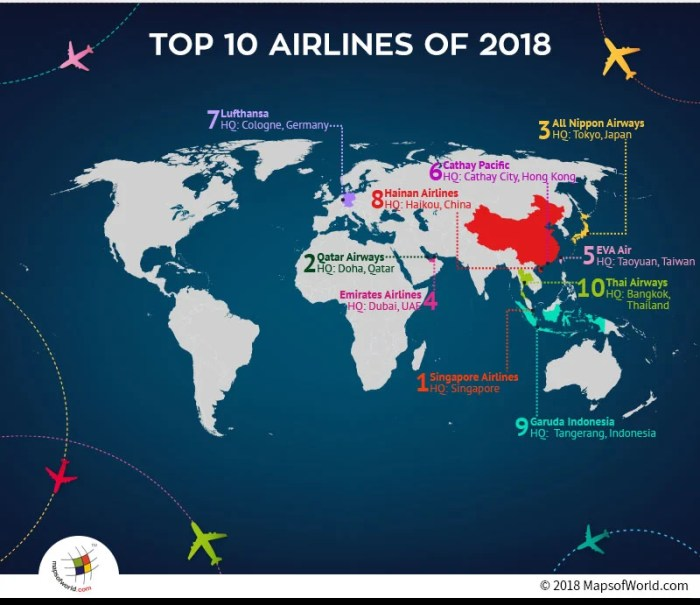 World map depicting headquarters of Top Ten Airlines
