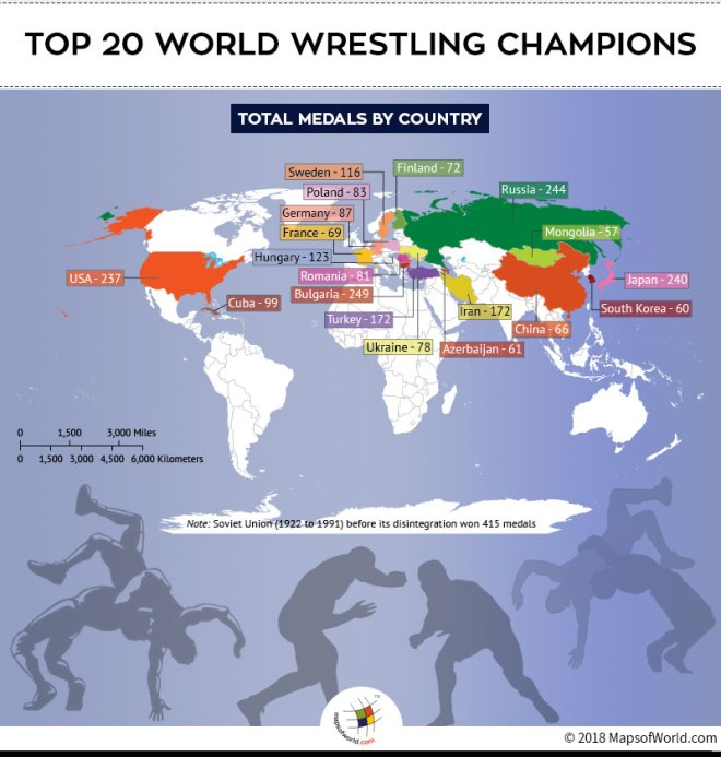 World Map highlighting countries which are Wrestling Champions