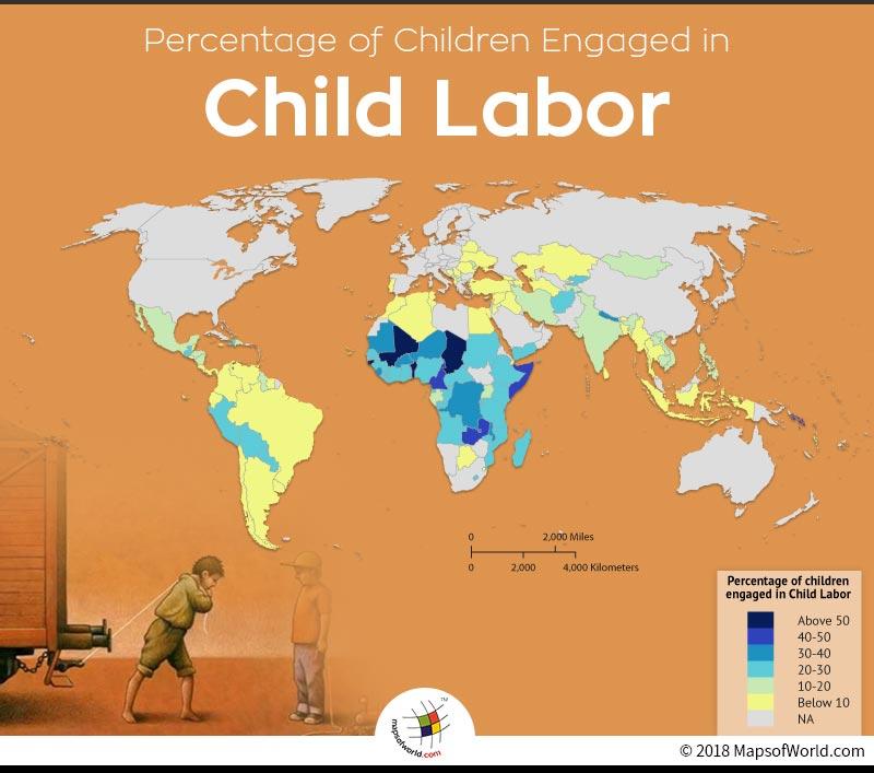 World Map Depicting Child Labor Percentage Around The World Answers