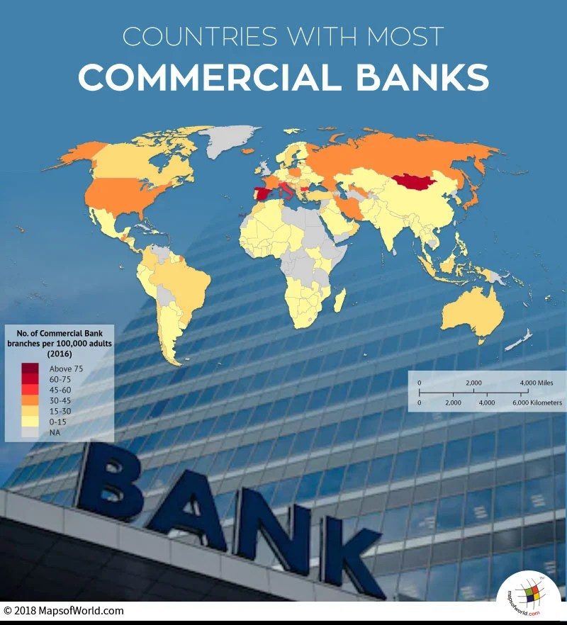 World map depicting countries with most commercial banks