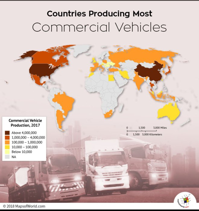 World map depicting manufacturers of Commercial Vehicles