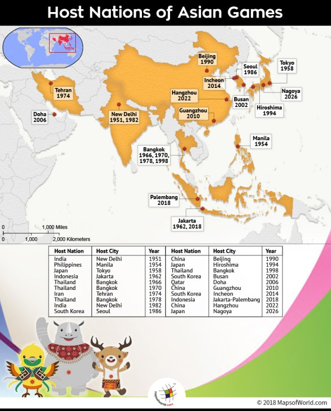 Map depicting the host nations of Asian Games