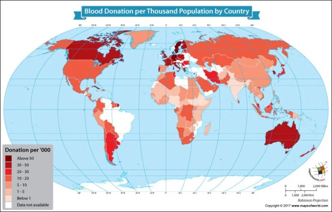 World map showing the highest blood donors