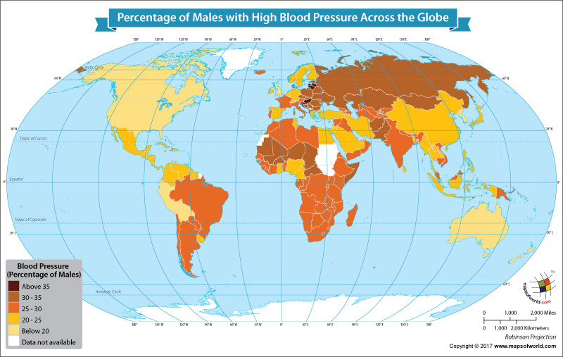 World map showing countries with male population with high blood pressure
