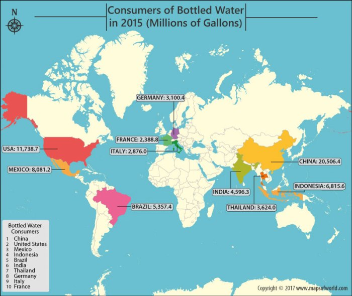 World map showing countries consuming the most bottled water