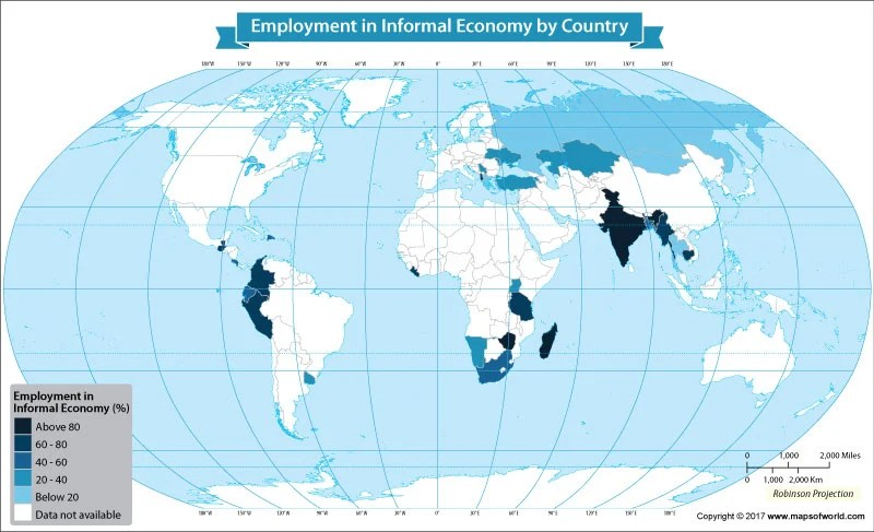 Wold map showing employment in the informal sector economy