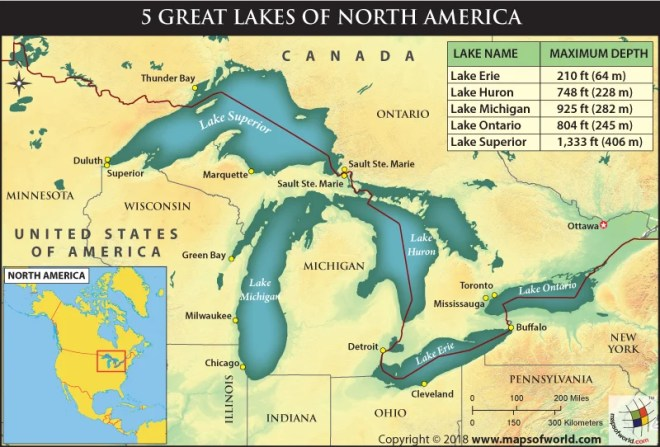Lakes Of Canada Map.How Deep Are The 5 Great Lakes Of North America Answers