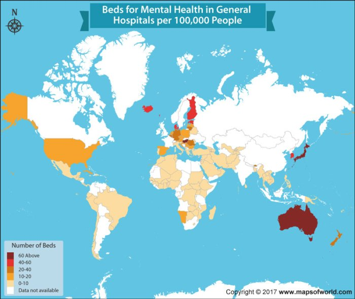 World map showing number of beds in mental hospitals
