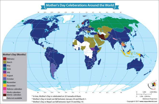 World map showing the different dates for the celebration of mother's day