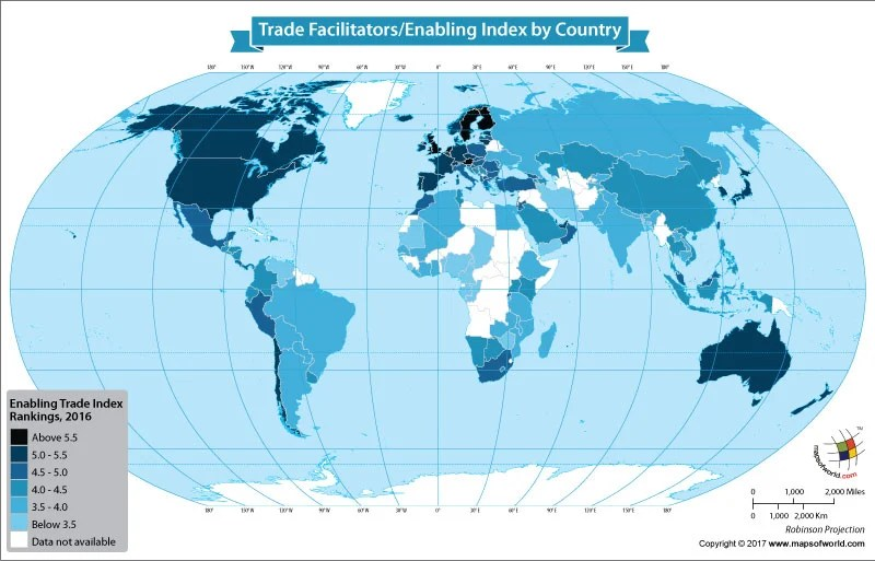 World map showing trade facilitators/enablers index