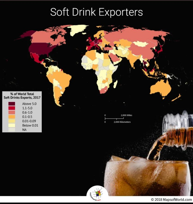 World Map depicting soft drink exporters