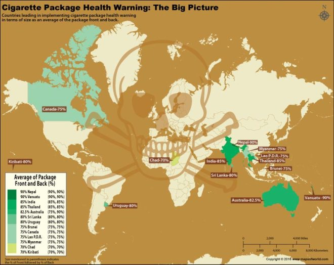 World map depicting countries with largest tobacco warning?