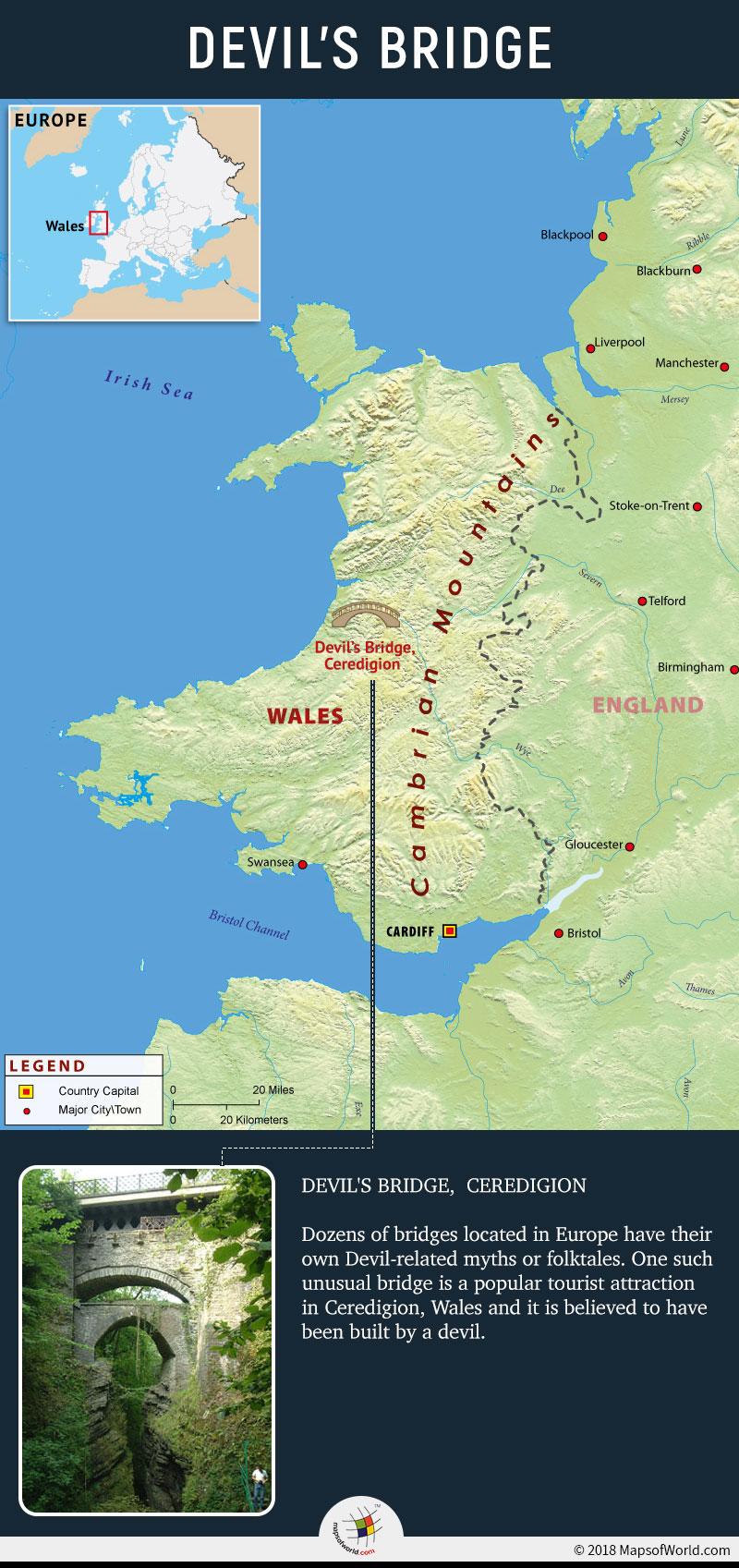Map depicting location of Devil's Bridge