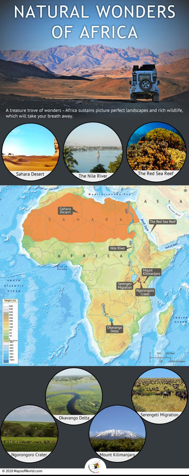 Infographic depicting Seven Wonders of Africa