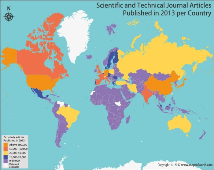 World map showing scientific and technical journal articles in 2013