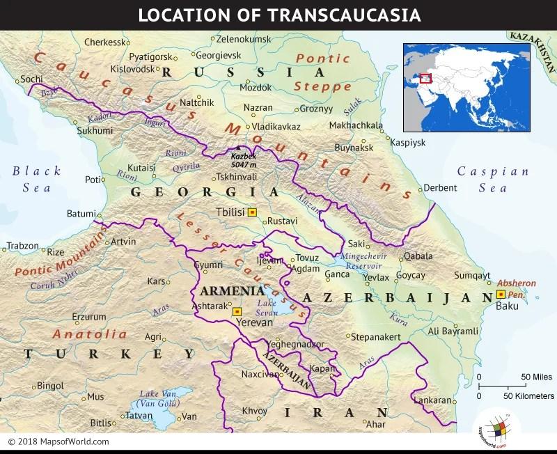 Map depicting the region of Transcaucasia