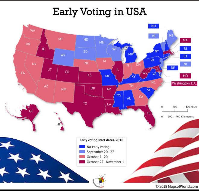 US Map depicting when early voting begins