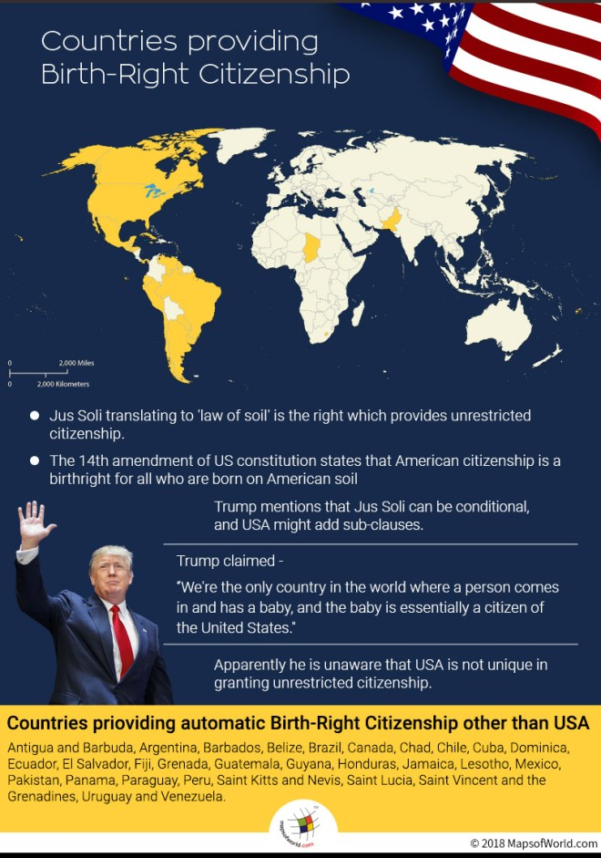 Map depicts countries which provide unrestricted birthright citizenship