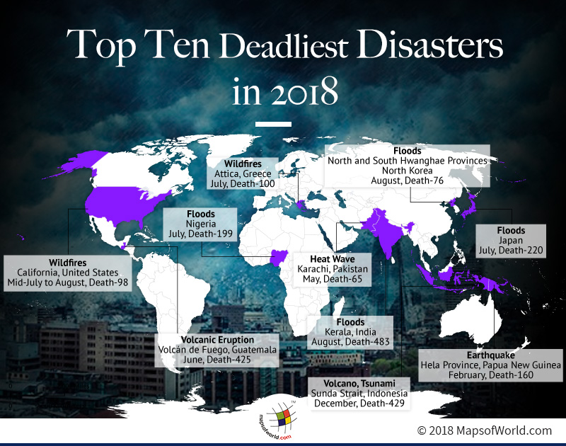 Map Showing Deadliest Disasters in 2018