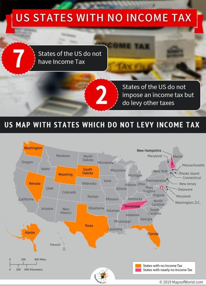 US State with No Income Tax - Alaska, Nevada, South Dakota, Texas, Washington, Wyoming