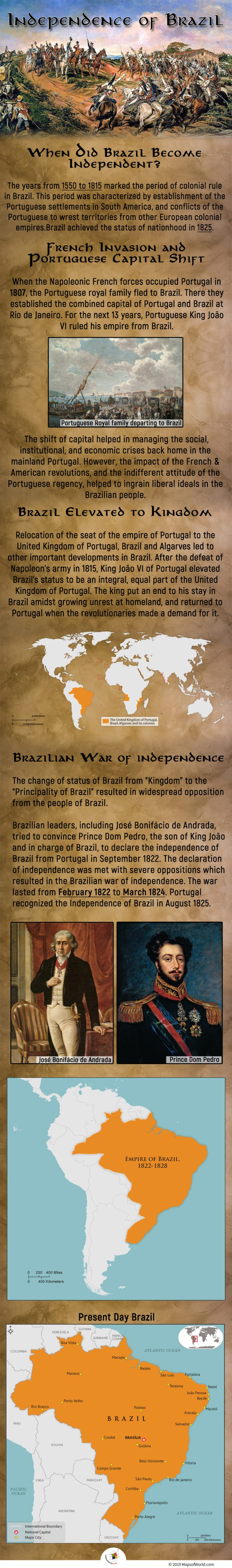 Brazil achieved the status of nationhood in 1825